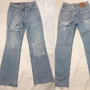Vintage High Waist 80-90s Mom Jeans Distressed 26
